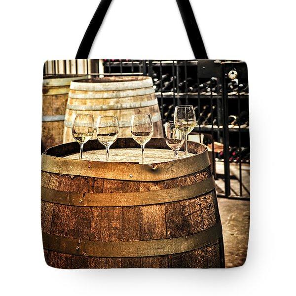 Wine  glasses and barrels Tote Bag by Elena Elisseeva