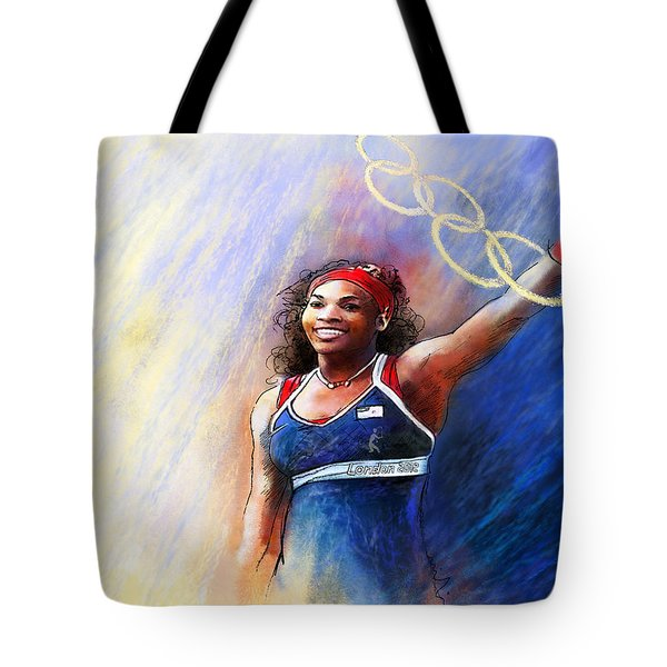 2012 Tennis Olympics Gold Medal Serena Williams Tote Bag by Miki De Goodaboom