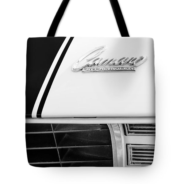 1969 Chevrolet Camaro Rs-ss Indy Pace Car Replica Hood Emblem Tote Bag by Jill Reger