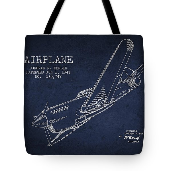 Airplane Patent Drawing From 1943 Tote Bag by Aged Pixel