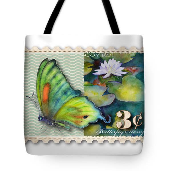 3 Cent Butterfly Stamp Tote Bag by Amy Kirkpatrick