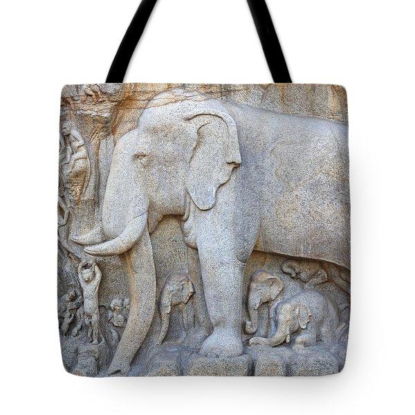 Elephant Sculpture At Mamallapuram  Tote Bag by Robert Preston