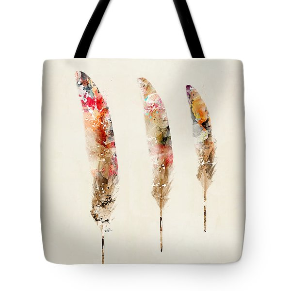 3 Feathers Tote Bag by Bri B