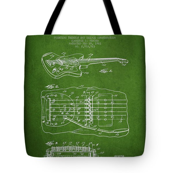 Fender Floating Tremolo patent Drawing from 1961 - Green Tote Bag by Aged Pixel