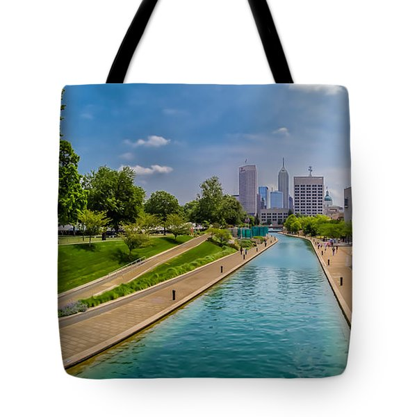 Indianapolis Skyline From The Canal Tote Bag by Ron Pate