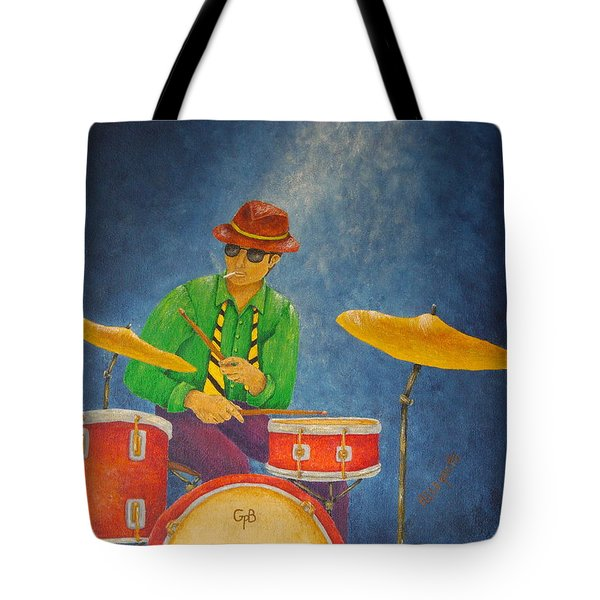 Jazz Drummer Tote Bag by Pamela Allegretto