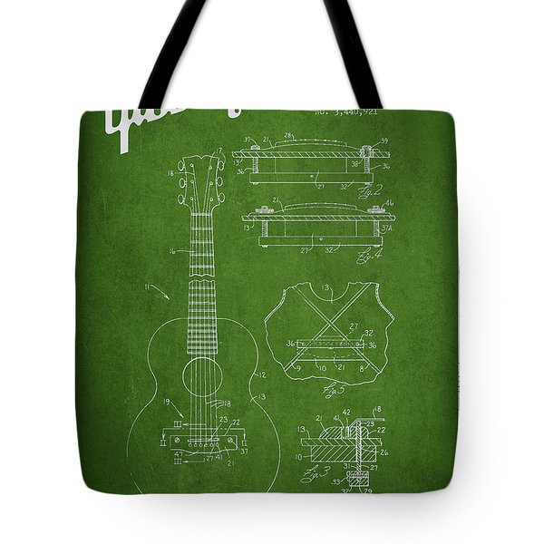 Mccarty Gibson stringed instrument patent Drawing from 1969 - Green Tote Bag by Aged Pixel