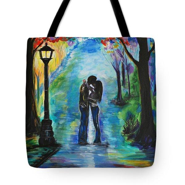 Moonlight Kiss Tote Bag by Leslie Allen