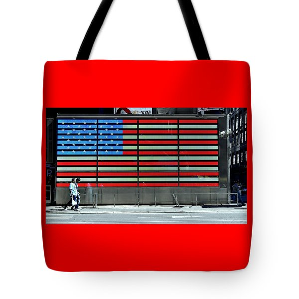 Neon American Flag Tote Bag by Allen Beatty
