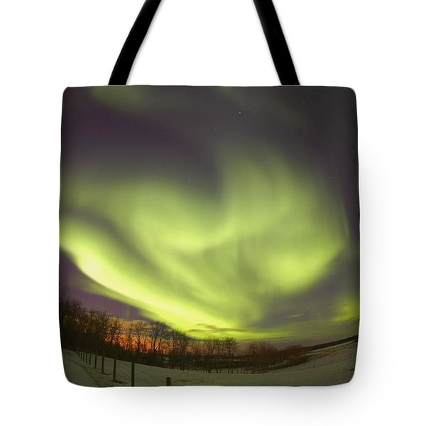Northern Lights, Edmonton, Alberta Tote Bag by Carson Ganci