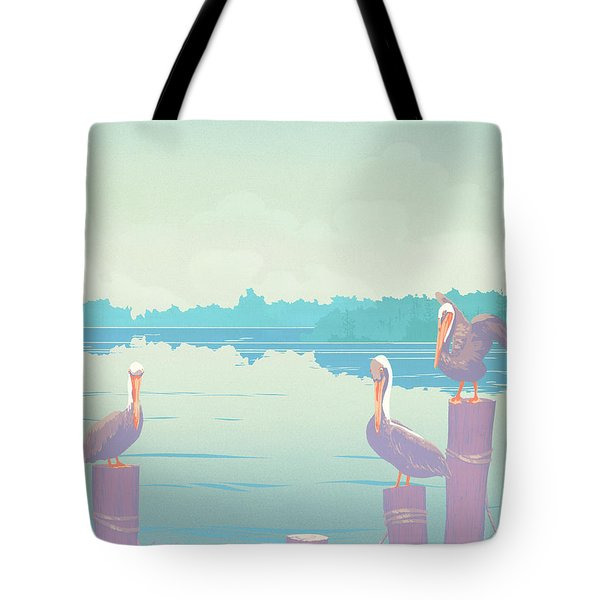 Abstract Pelicans Tropical Florida Seascape Large Pop Art Nouveau 80s 1980s Stylized Painting Tote Bag by Walt Curlee