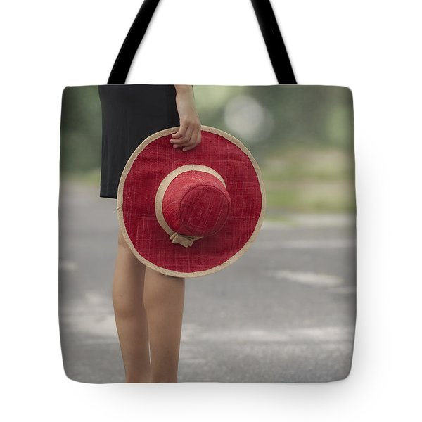 Red Sun Hat Tote Bag by Joana Kruse