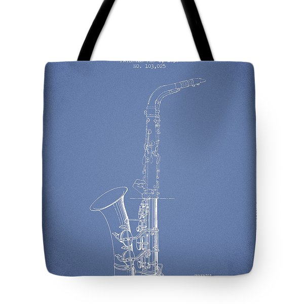 Saxophone Patent Drawing From 1937 - Light Blue Tote Bag by Aged Pixel