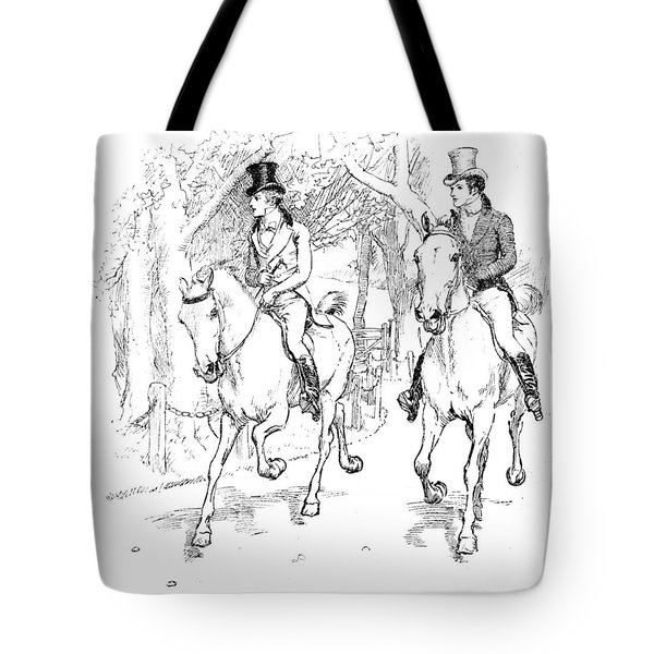 Scene From Pride And Prejudice By Jane Austen Tote Bag by Hugh Thomson