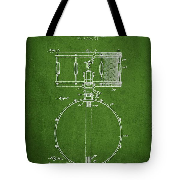 Snare Drum Patent Drawing From 1939 - Green Tote Bag by Aged Pixel