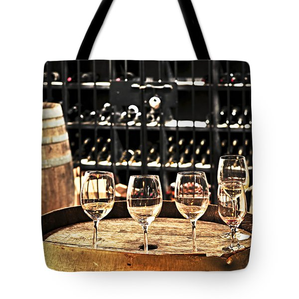 Wine Glasses And Barrels Tote Bag by Elena Elisseeva