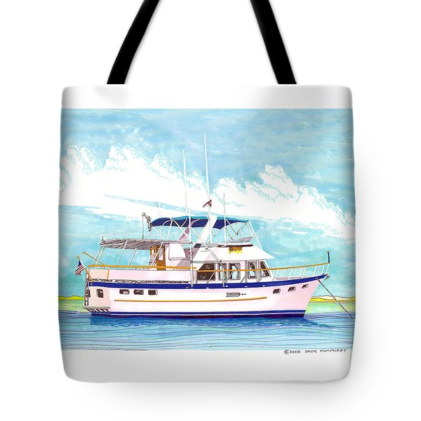 37 foot Marine Trader 37 Trawler yacht at anchor Tote Bag by Jack Pumphrey