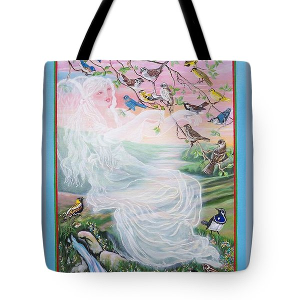 380  Whistling Angel And Birds Tote Bag by Sigrid Tune