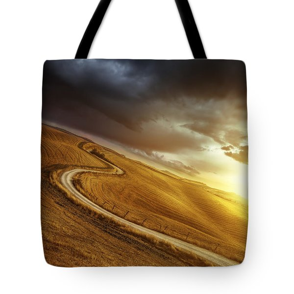 A Country Road In Field At Sunset Tote Bag by Evgeny Kuklev