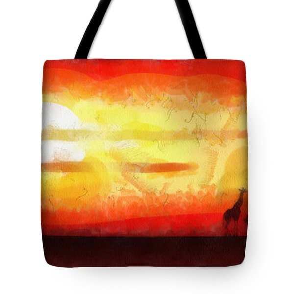 Africa Sunset Tote Bag by Michal Boubin