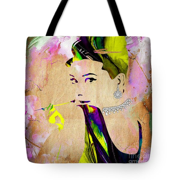 Audrey Hepburn Diamond Collection Tote Bag by Marvin Blaine
