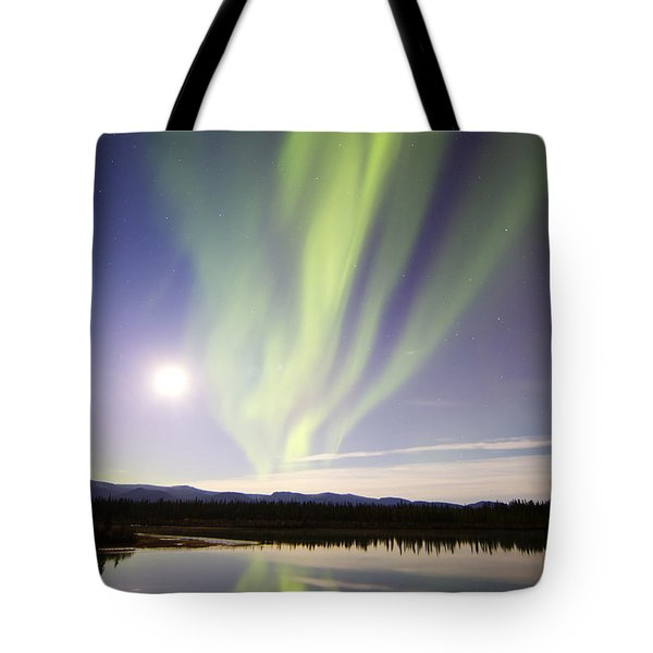 Aurora Borealis And Full Moon Tote Bag by Joseph Bradley