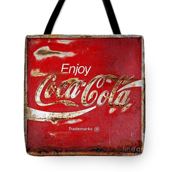 Coca Cola Vintage Rusty Sign Black Border Tote Bag by John Stephens