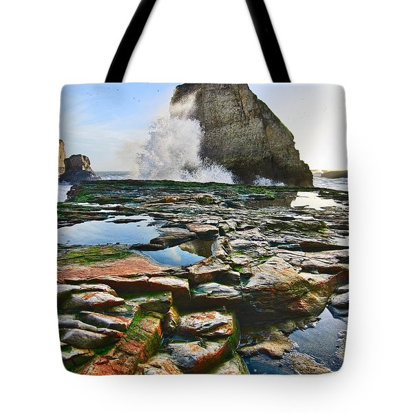 Dramatic View Of Shark Fin Cove In Santa Cruz California. Tote Bag by Jamie Pham