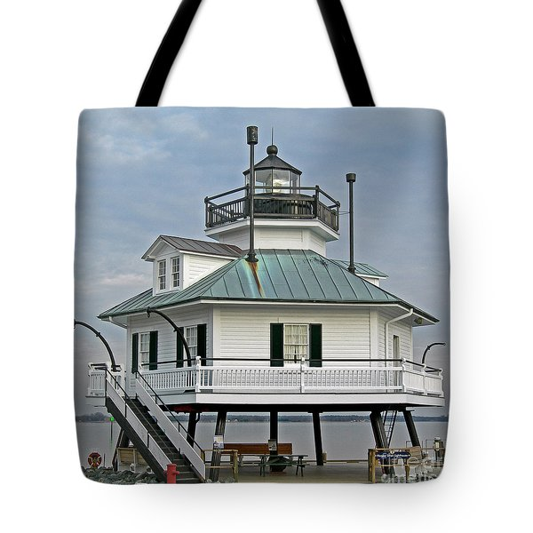 Hooper Straight Lighthouse Tote Bag by Skip Willits