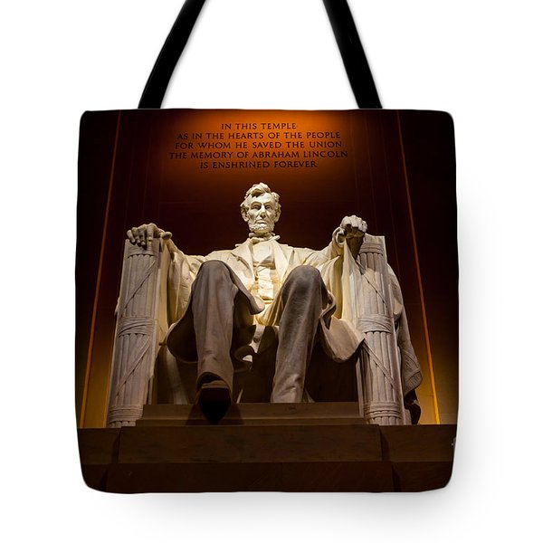 Lincoln Memorial At Night - Washington D.c. Tote Bag by Gary Whitton