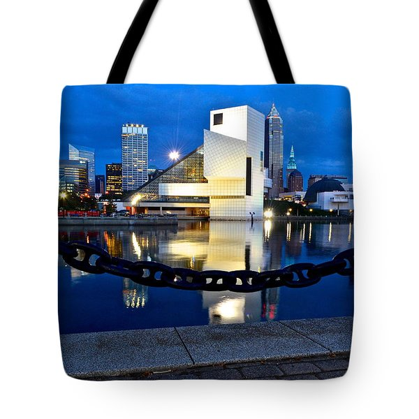Rock And Roll Hall Of Fame Tote Bag by Frozen in Time Fine Art Photography