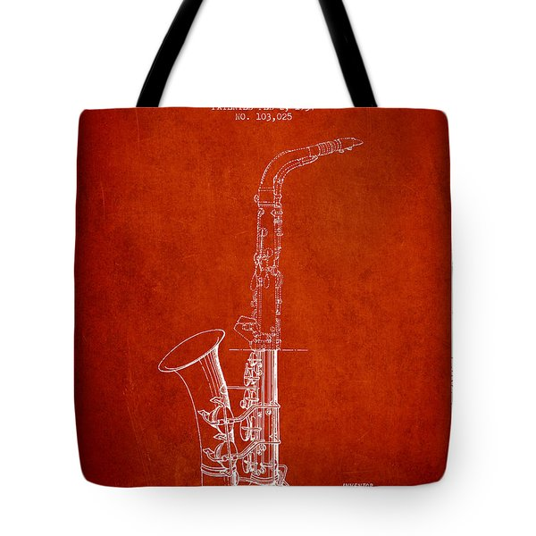 Saxophone Patent Drawing From 1937 - Red Tote Bag by Aged Pixel