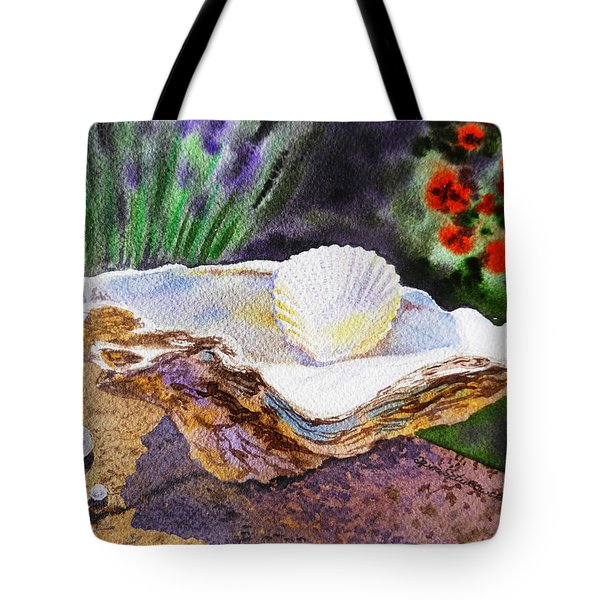 Sea Shell And Pearls Morning Light Tote Bag by Irina Sztukowski