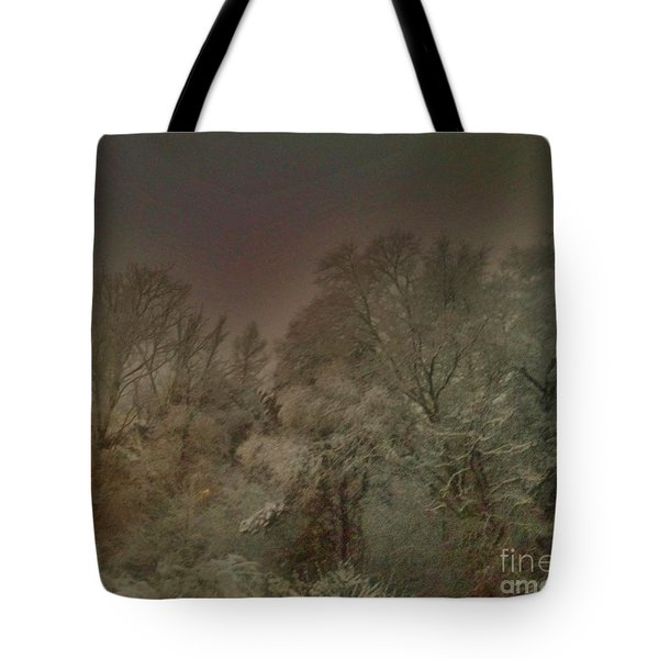 Snowy Night Tote Bag by Janice Spivey