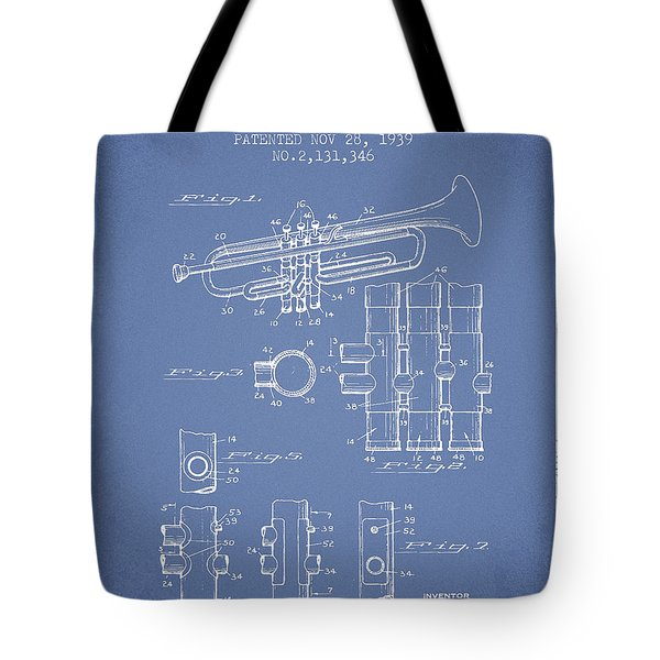 Trumpet Patent From 1939 - Light Blue Tote Bag by Aged Pixel