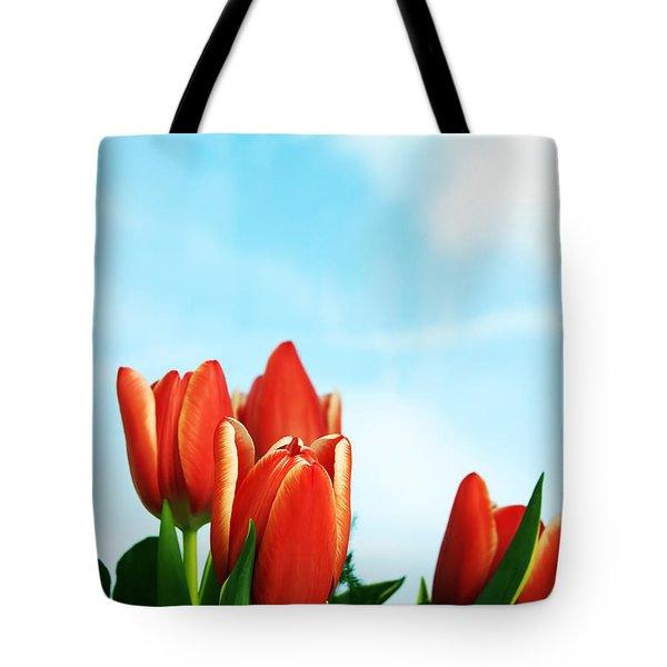 Tulips Background Tote Bag by Michal Bednarek
