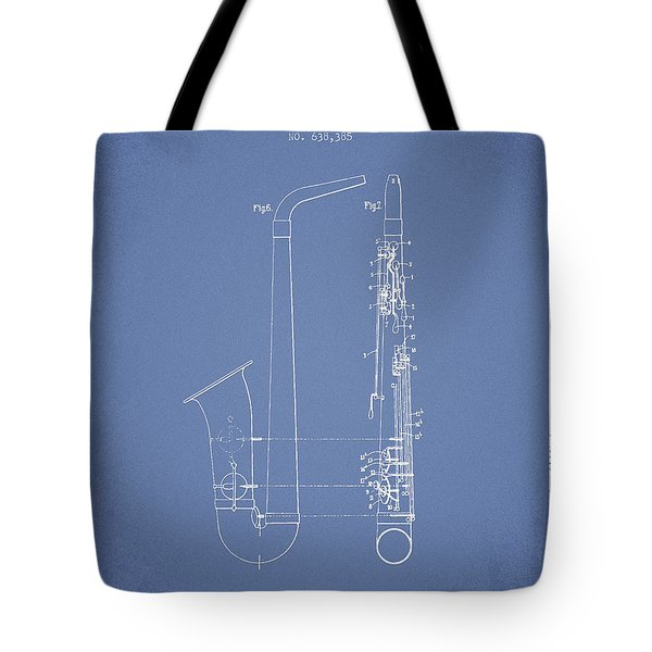 Saxophone Patent Drawing From 1899 - Light Blue Tote Bag by Aged Pixel