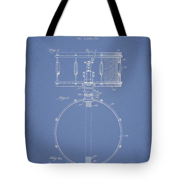 Snare Drum Patent Drawing from 1939 - Light Blue Tote Bag by Aged Pixel