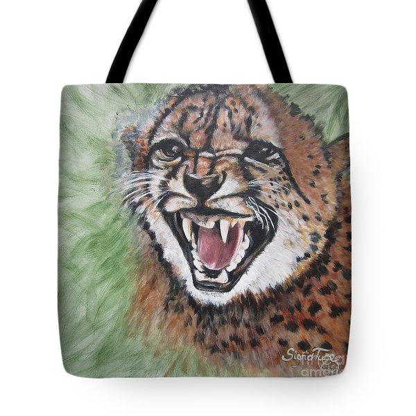 420 Growling Baby Cheetah Tote Bag by Sigrid Tune