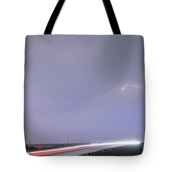 47 Street Lightning Storm Light Trails View Panorama 1 Tote Bag by James BO  Insogna