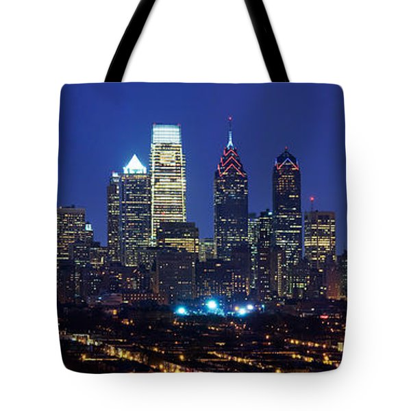 Buildings Lit Up At Night In A City Tote Bag by Panoramic Images