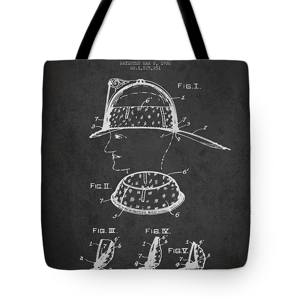 Firefighter Headgear Patent drawing from 1926 Tote Bag by Aged Pixel