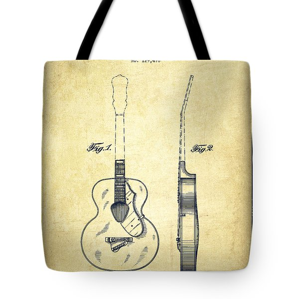 Gretsch guitar patent Drawing from 1941 - Vintage Tote Bag by Aged Pixel