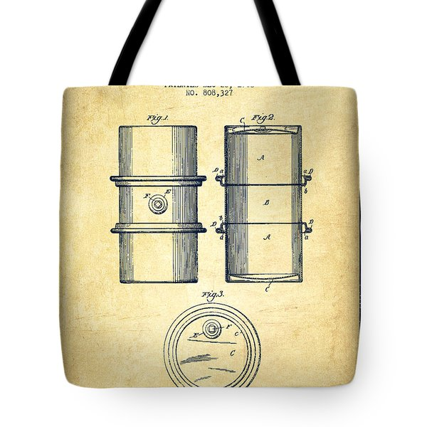 Oil Drum Patent Drawing From 1905 Tote Bag by Aged Pixel