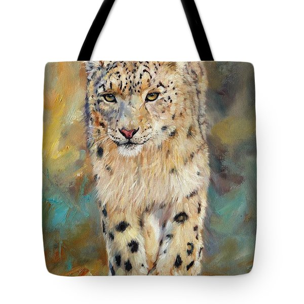 Snow Leopard Tote Bag by David Stribbling