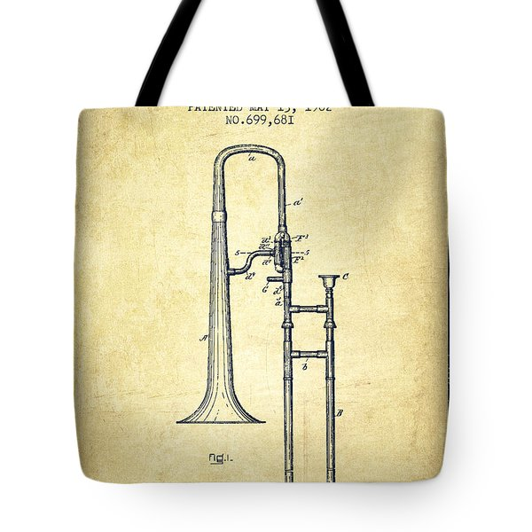 Trombone Patent From 1902 - Vintage Tote Bag by Aged Pixel