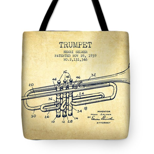 Vinatge Trumpet Patent From 1939 Tote Bag by Aged Pixel