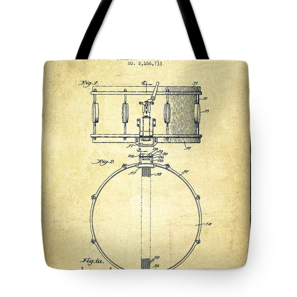 Snare Drum Patent Drawing From 1939 - Vintage Tote Bag by Aged Pixel