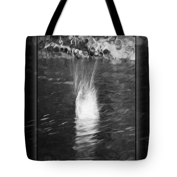 50 Shades Of Grey Abstract Black And White Painting Tote Bag by Omaste Witkowski