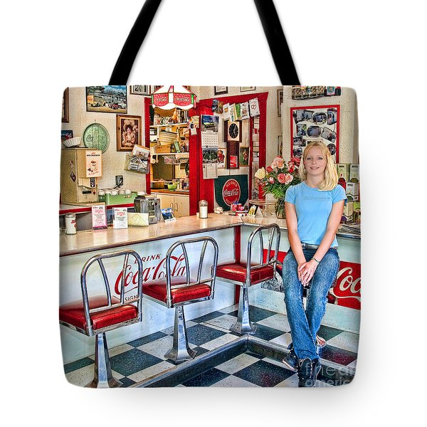 50s American Style Soda Fountain Tote Bag by David Smith